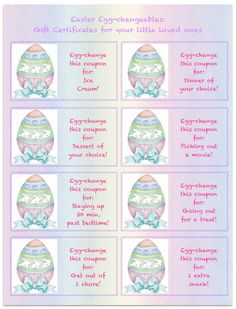 Free printable gift certificates free printable gift free printable easter gift certificates for kids negle Gallery