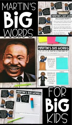 Activities to celebrate Dr. Martin Luther King Jr. using the picture book, Martin's Big Words. Incorporates elements of reading, writing, and speaking and listening. Perfect for upper elementary classrooms. Students will love these activities for learning about and celebrating the life of Dr. King. Easy to prep lessons and easy to implement for teachers.