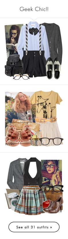 """""""Geek Chic!!"""" by abbyinwonderland ❤ liked on Polyvore featuring Alexander Wang, Sandro, Opening Ceremony, Leatherbay, costume, geek, nerd glasses, halloween, CO and Karen Millen"""