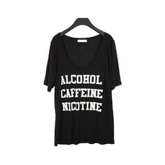 T-shirt - Addict (£18) ❤ liked on Polyvore featuring tops, t-shirts, shirts, tees, cotton tee, tee-shirt, cotton shirts, t shirts e cotton t shirt