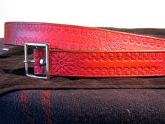 Pastel Red Western Flower Leather Belt by LifetimeLeather on Etsy, $40.00