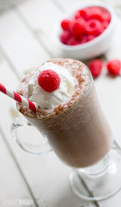 Try whipping up this healthy raspberry mocha protein shake in the morning.