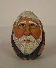 Santa hand carved egg shaped hand made art by WasatchWoodcarver, $45.00