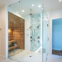 Should I sauna or should I shower? This family has roots in the cold climates of Switzerland and the shower/sauna combo was a long time dream for them. Shower Remodel, Bath Remodel, Modern Bathroom, Master Bathroom, Master Shower, Sauna Shower, Spa Inspired Bathroom, Sauna Design, Sauna Room