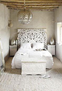 Tête De Lit Orientale Blanche Maison Du Monde, Lits Sculptés, Chambre Cosy,  Deco