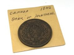 1842 CANADA BANK OF MONTREAL ONE PENNY.