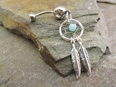 Makes me want to get my bellybutton pierced!!   Amazonite Dream Catcher Belly Button Jewelry by MidnightsMojo