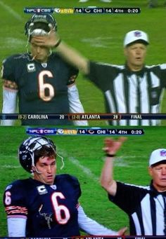 The football players face after getting hit by a referee...hilarious!