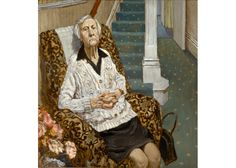 Stuart Pearson Wright  The lady who liked to sit by the front door  Oil on Panel