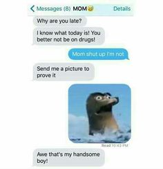 Funny Text About Mom vs. Mom Texts, Epic Texts, Hilarious Texts, Disney Jokes, Disney Fun, Finding Dory Gerald, Crazy Funny Memes, Funny Quotes, Old Memes