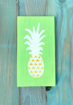 "pineapple painted sign pineapple wall hanging beach house decor beach cottage decor rustic beach decor coastal sign decor nautical decor. Pineapples make my heart happy! Overview - pineapple painting - 9"" X 4"" - All pieces are handmade...no two are the same. Details - created from reclaimed wood - sealed with a semi-gloss finish - sawtooth back for easy hanging."
