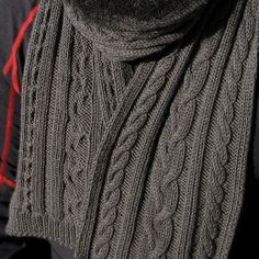 """Cabled scarf based on one worn in the """"Hatfield's & McCoy's"""" mini series. Mirrored cables with a braided cable in the center. Mens Scarf Knitting Pattern, Mens Knitted Scarf, Knitting Patterns Free, Free Knitting, Knitted Hats, Free Pattern, Knitted Scarves, Knitting Needles, Knitting Accessories"""