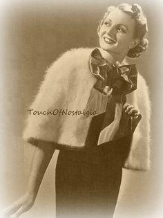 1930s ANGORA HOODED CAPE Knitting Pattern por touchofnostalgia7