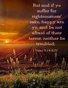 """But and if ye suffer for righteousness' sake, happy are ye: and be not afraid of their terror, neither be troubled;"" 1 Peter 3:14 KJV"