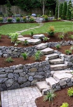 Yard is very important corner of your great house because it is the place you can relax in the upcoming warm days. So when you plan to design your house exterior, don't ignore the yard landscaping. And if you happen to have a yard includes a hill or hills Garden Stairs, Balcony Garden, Garden Planters, Diy Planters, Porch Stairs, Vegetable Planters, Flower Planters, Rock Garden Walls, Vegetable Gardening
