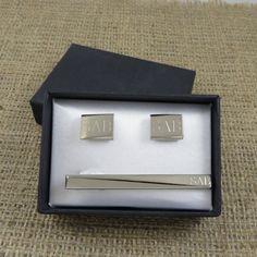 Personalized Tie Clip w/ Cuff Links Monogram (cut-04)