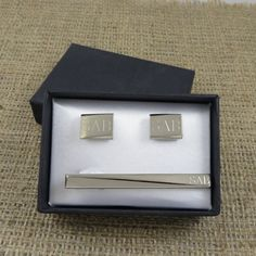 Personalized Tie Clip w/ Cuff Links Monogram by tiposcreations, $32.95