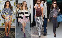 Inspire-se nos truques fashion das famosas:  Se quiser deixar o visual mais moderno, invista no mix de estampas. Para acertar na aposta, escolha peças que tenham a mesma cor de fundo ou tons repetidos.