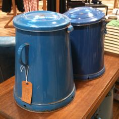 Old blue enamel pots....