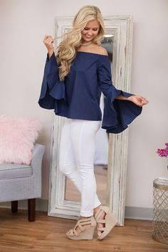 Sweet Serenade Off The Shoulder Blouse Navy - The Pink Lily