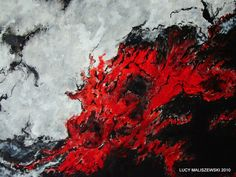 Fine Art-Original Oil Painting-Abstract-Expressionist- Iceland-Volcano. $450.00, via Etsy.