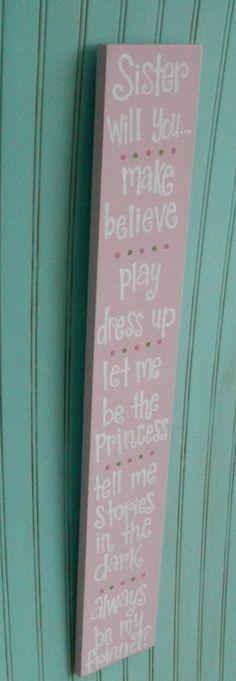 Sisters Sign. Girls Bedroom Decor. Sister by BloomAndGrowStudio