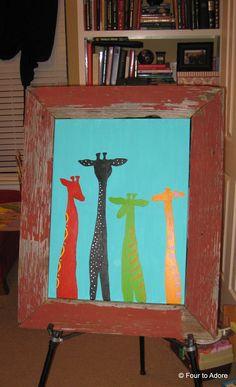 Giraffe painting for a nursery with reclaimed barn wood frame