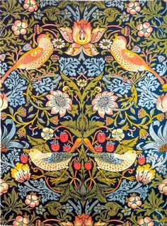 Articles: Victorian Era Tiles, William Morris Overview, What is Arts and Crafts, Tiles from Textiles, Morris and Co. William Morris Wallpaper, William Morris Art, Morris Wallpapers, Arts And Crafts Movement, The Strawberry Thief, Strawberry Art, William Morris Patterns, Art Environnemental, Art And Craft Design