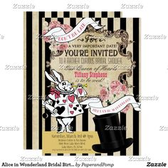 Alice in Wonderland Bridal Birthday Invitation 5x7 *****would make an awesome wedding invite!!!!!!