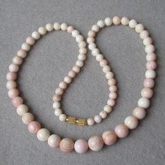 "Vintage Pale Pink Angel Skin Coral 18"" Necklace"
