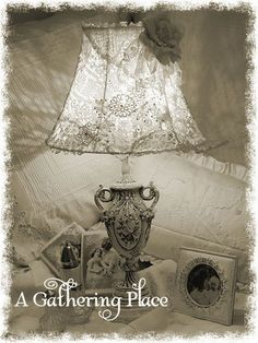 Beautiful lace lampshade w/tutorial ~ by Rebecca Nelson@ A Gathering Place, love her creations ~❥