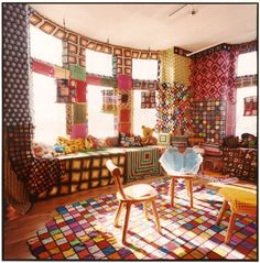 Idea to yarn bomb my own craft room