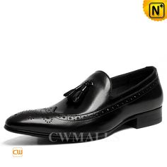 CWMALLS Mens Black Leather Tassel Wingtip Loafers CW716213 Stylish tassel wingtip loafers crafted from  natural grained calfskin leather and leather lining, black brogue tassel shoes featurning with tassel and wingtip details add an element of class and prestige to any look. www.cwmalls.com PayPal Available (Price: $195.89) Email:sales@cwmalls.com