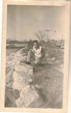 Antique Vintage Photograph Sexy Young Man Posing By Rocks Gay Interest
