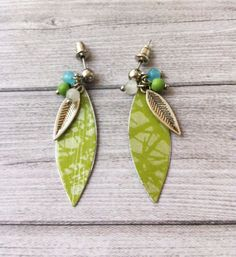 Boho earrings 215-1-33 - paper earrings - stud - dangle and drop - metal feather - leave shape - glass beads - green - hippie -one of a kind by carlaamaro on Etsy