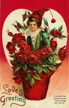 "Antique ""Love's Greeting"" Valentine postcard illustrated by Ellen Clapsaddle, via As the Clever Crow Flew. Victorian Valentines, Vintage Valentine Cards, Vintage Greeting Cards, Valentine Day Cards, Vintage Postcards, Happy Valentines Day, Images For Valentines Day, My Sweet Valentine, Valentines Greetings"