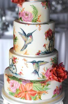 Beautiful Cake Designs, Beautiful Cakes, Tea Party Wedding, Wedding Cakes, Gravity Cake, Hand Painted Cakes, Bird Cakes, Sugar Cake, Mad Hatter Tea