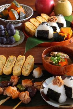 Japanese food: egg roll, sea weed rice ball...