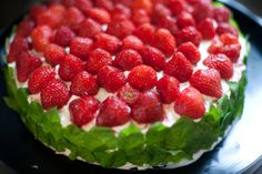 Strawberry & fresh whipped cream cake. A traditional summertime treat in Finland. Via Vihreä Talo. #Finland
