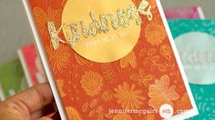 By Jennifer McGuire. Stamp in VersaMark onto brightly-colored cardstock; heat emboss with clear powder. Color images with a VersaMark pen; brush on Perfect Pearls. Buff.