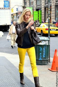 Combine a bright yellow pair of jeans with other dark pieces to shine in the streets of Soho while the sun is out.  www.mybigapplecity.com