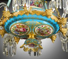 Antique Chandeliers, French Lighting, Baccarat Crystal and Opaline Chandelier ~ M.S. Rau Antiques