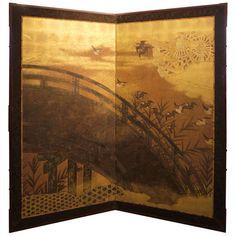 Japanese Two Panel Screen with Uji Bridge.