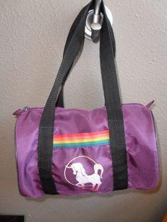 1980s Purple Unicorn Rainbow Mini Duffle Bag - had one, it was a keychain ...