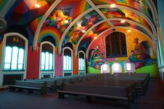 okuda san miguel colorizes the church of cannabis with hallucinatory scenes