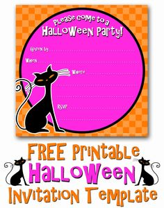 FREE Printable Black Kitty Cat Halloween Party Invitation