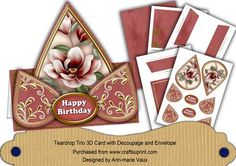 DRed Magnolia Happy Birthday Teardrop Trio Kit  on Craftsuprint designed by Ann-marie Vaux - I have designed this kit to make a card and an envelope to match. The card is a very simple one to make but it looks really effective when it has been made. In this kit you get.. 1 base card sheet that also has a insert panel on, 1 decoupage sheet with teardrops and labels on, 1 matching backing paper, 1 envelope front and flap sheet, 1 envelope side flaps sheet, 1 kit preview and instructions. I ...