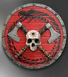 Viking Skull Sculpture with Axeheads and Shield Axe Tattoo, Norse Tattoo, Viking Camp, Viking Warrior, Viking Symbols, Viking Runes, Viking Sheild, Viking Shield Design, Escudo Viking