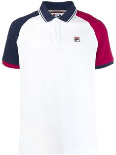 White, blue and pink cotton contrast sleeve polo shirt from Fila featuring a classic polo collar, a front button placket, a logo to the chest, short sleeves and a straight hem. School Uniform Outfits, Polo Shirt White, Mens Boots Fashion, Business Casual Men, Camisa Polo, Mens Suits, Menswear, Mens Tops, Contrast