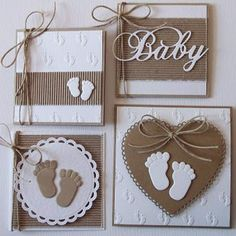 New Baby Shower Decorations Manualidades Ideas Baby Boy Cards, New Baby Cards, Scrapbook Paper Crafts, Scrapbook Cards, Baby Scrapbook, Baby Shower Invitaciones, Card Tags, Card Kit, Kids Cards
